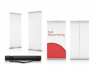 Vector blank roll-up banners, vertical stands