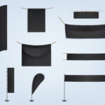 Vector set of black blank textile banners